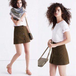 Madewell Metropolis A-Line Button Skirt Army Green